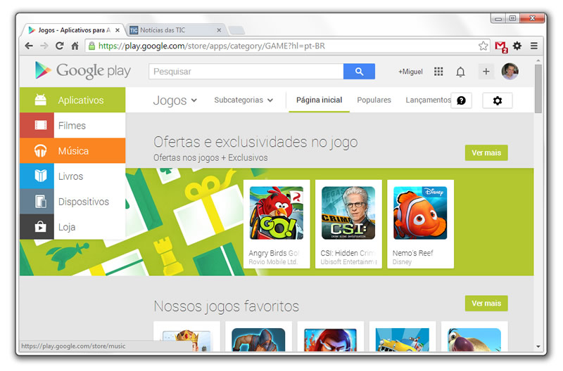 loja Google Play no Chrome