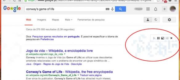 "Google Easter Egg ""jogo da vida"""