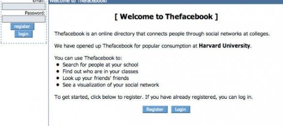 Primeira versão do site da Rede Social Facebook